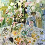 Elizabeth Endres, Watching From Behind Hydrangea Flowers (SOLD), 2021, Oil on canvas, 40 x 40 inches