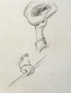 N.C. Wyeth (1882-1945), Untitled Study (hand waving a hat; hand holding a rod), Graphite on paper, 9 x 6 ¼ inches