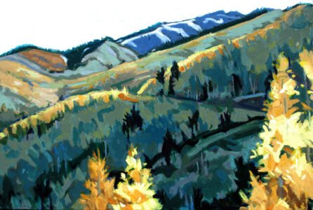 Philip Koch, Mountainside, 2021, Oil on panel, 14 x 21 inches