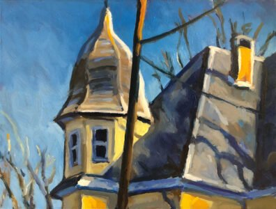 Philip Koch, Turret House, Nyack; 2020, Oil on panel, 9 x 12 inches