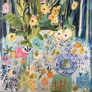 Elizabeth Endres, Blues and Fruit (SOLD), 2021, Oil on canvas, 48 x 48 inches