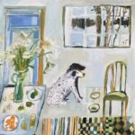 Elizabeth Endres, Dogs Waiting and Snow Outside (SOLD), 2021, Oil on canvas, 14 x 14 inches