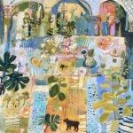 Elizabeth Endres; Fiddle Leaf Fig, Ferns and Fruit (SOLD); 2021; Oil on canvas; 16 x 16 inches