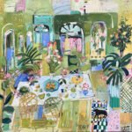 Elizabeth Endres, Green Garden Room (SOLD), 2021, Oil on canvas, 20 x 20 inches