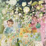 Elizabeth Endres, Green to Pink (SOLD), 2021, Oil on canvas, 40 x 44 inches