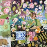 Elizabeth Endres, Sleeping Dog Under Pink Blooms (SOLD), 2021, Oil on canvas, 30 x 36 inches