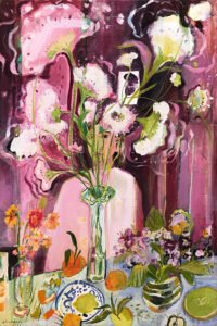 Elizabeth Endres, Violet and Crimson Visions (SOLD), 2021, Oil on canvas, 36 x 24 inches