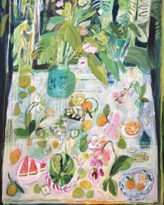 Elizabeth Endres, Watermelon Greens (SOLD), 2021, Oil on canvas, 50 x 40 inches