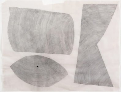 Cheryl Levin, Three Shapes Made with Line with a Dot, 2020, Ink on vellum, 19 x 25 inches