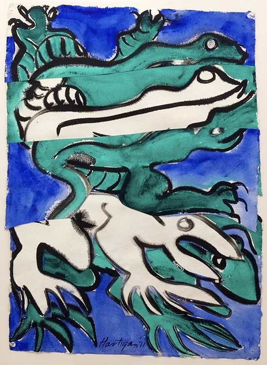 Grace Hartigan, Frog and Lizard, 1971, Watercolor and collage, 30 x 22 inches