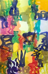 Melissa Meyer, Raycie Series no. VII (SOLD), 2014, Watercolor on paper, 38 x 25 inches