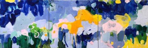 Marie Theres Berger, Aprés La Pluie (triptych), 2020, Acrylic on canvas, 16 x 48 inches