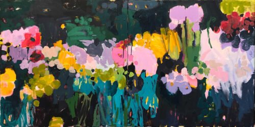 Marie Theres Berger, Hommage à Ogata Korin (diptych), 2020, Acrylic on canvas, 27 ½ x 55 inches