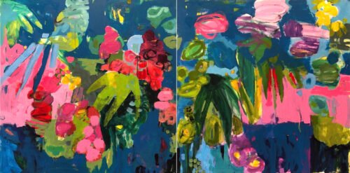 Marie Theres Berger, Kobaltblau (diptych), 2020, 35 ½ x 71 inches