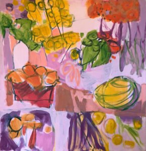 Marie Theres Berger, L'heure Rose (SOLD), 2020, Acrylic on canvas, 31 ½ x 31 ½ inches