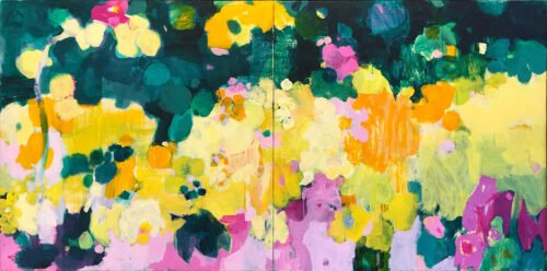 Marie Theres Berger, Mars (diptych), 2020, Acrylic on canvas, 31 ½ x 63 inches