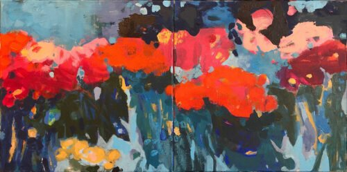Marie Theres Berger, Parva Pictura 6 (diptych), 2020, Acrylic on canvas, 16 x 32 inches