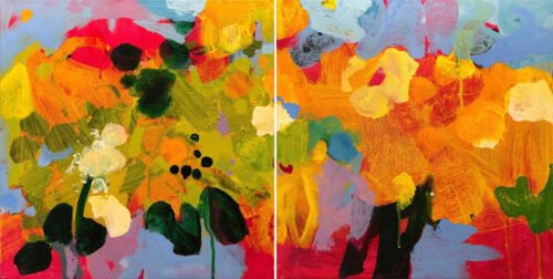 Marie Theres Berger, Parva Pictura 8 (diptych), 2020, Acrylic on canvas, 16 x 32 inches