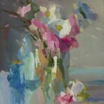 Christine Lafuente, Daisies and Pink Carnations, 2020, Oil on mounted linen, 12 x 10 inches
