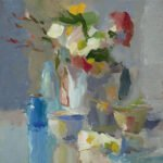 Christine Lafuente, Daisies with Bottles and Teacups, 2020, Oil on mounted linen, 12 x 12 inches