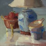 Christine Lafuente, Strawberries, Lamp and Teacups, 2020, Oil on linen, 12 x 12 inches