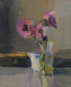 Christine Lafuente, Anemones and Violin Case, 2019, Oil on linen, 14 x 11 inches