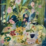 Elizabeth Endres; Aqua Colors, Fruit, and Flowers (SOLD); 2021; Oil on canvas; 40 x 36 inches