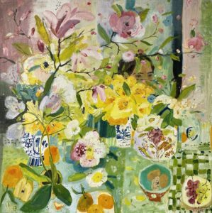 Elizabeth Endres, Behind Daffodils and Blooms (SOLD), 2021, Oil on canvas, 24 x 24 inches