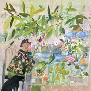 Elizabeth Endres; Green Leaves, Black Dog, Pears, and Two People (SOLD); 2021; Oil on canvas; 40 x 40 inches