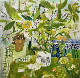 Elizabeth Endres, Green Table and Branches (SOLD), 2021, Oil on canvas, 24 x 24 inches