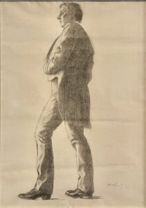 N.C. Wyeth (1882-1945), Untitled (standing male figure, from the side), 1900, Charcoal on paper, 24 ½ x 19 inches