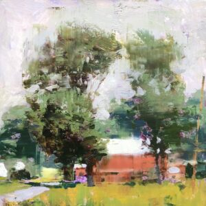 Jon Redmond, Another Red Barn, 2020, Oil on board, 10 x 10 inches