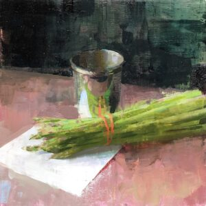 Jon Redmond, Asparagus Reflected, 2021, Oil on board, 10 x 10 inches