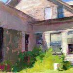 Jon Redmond, Farm House Corner, 2021, Oil on board, 10 x 10 inches