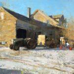 Jon Redmond, Farmhouse February, 2021, Oil on board, 24 x 24 inches