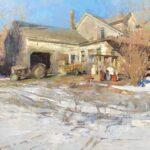 Jon Redmond, Farmhouse January, 2021, Oil on board, 24 x 24 inches