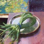 Jon Redmond, Garlic Scapes, 2021, Oil on board, 10 x 10 inches