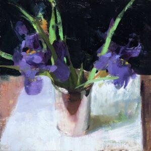 Jon Redmond, Irises, 2021, Oil on board, 10 x 10 inches