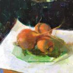 Jon Redmond, Orange Beets, 2020, Oil on board, 10 x 10 inches