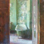 Jon Redmond, Room 625 Revisited, 2021, Oil on board, 10 x 10 board
