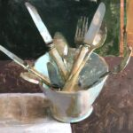 Jon Redmond, Silverware in a Mune Bowl (SOLD), 2020, Oil on board, 10 x 10 inches