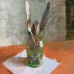 Jon Redmond, Silverware in a Green Glass, 2021, Oil on board, 10 x 10 inches