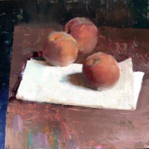 Jon Redmond, Some Massachusetts Peaches, 2021, Oil on board, 10 x 10 inches