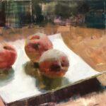 Jon Redmond, Some Pennsylvania Peaches, 2021, Oil on board, 10 x 10 inches