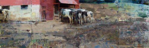 Jon Redmond, The Loner (triptych), Oil on board, 10 x 30 inches