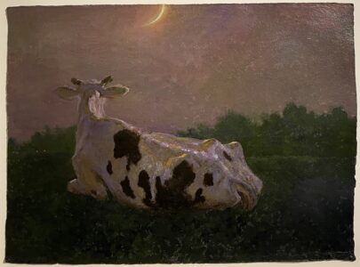 Jamie Wyeth; And the Cow Jumped, First Version; 2006; Mixed media on paper; 21 ¼ x 29 inches
