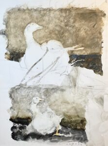 Jamie Wyeth, Study for Island Geese, Watercolor and graphite on paper, 28 ½ x 22 ½ inches