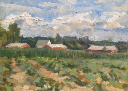 Michael Doyle, Field of Corn and Squash, 2021, Oil on panel, 5 ¾ x 8 inches