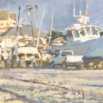 Michael Doyle, Marina Morning, 2021, Oil on panel, 5 ¼ x 10 ¾ inches