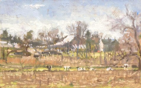 Michael Doyle, The Meadow, 2021, Oil on panel, 7 ¾ x 4 ¾ inches